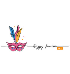 happy purim simple web banner with carnival vector image
