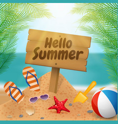 hello summer wooden signboard on the beach scene vector image