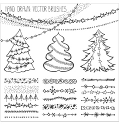 holiday christmas doodles setblack vector image