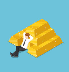 Isometric businessman resting with the pile vector