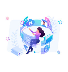 isometric concept young girl in process lea vector image