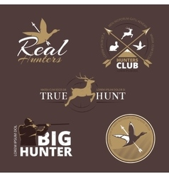 labels with duck deer hare gun and vector image