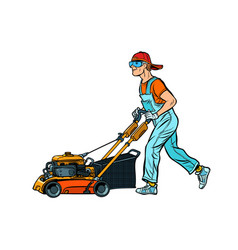Lawn mower worker isolate on white background vector