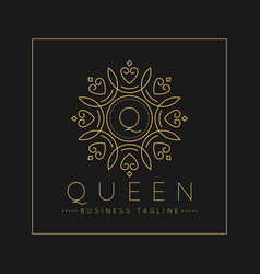 Letter q logo with classic and luxurious line art vector