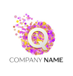 Letter q logo with purle particles and bubble dots vector