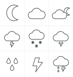 Line Icons Style Weather icons on white background vector image