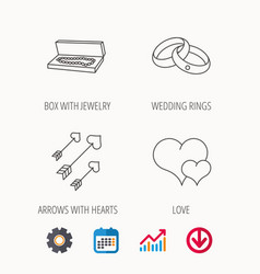 love heart jewelry and wedding rings icons vector image
