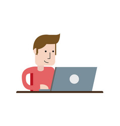 Man using laptop computer icon image vector