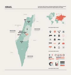 Map israel high detailed country vector