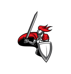 medieval knight heraldic mascot icon vector image