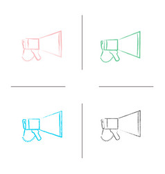 megaphone hand drawn icons set vector image