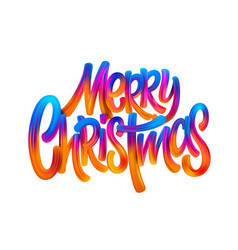 Merry christmas hand drawn oil paint lettering vector
