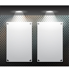 Metallic plate on the perforated wall vector