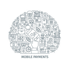 mobile payments thin line concept vector image
