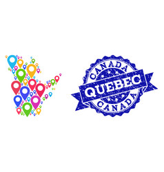 Mosaic map of quebec province with map pins and vector