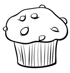 Muffin with chocolate coloring book vector