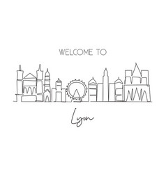 one continuous line drawing lyon city skyline vector image