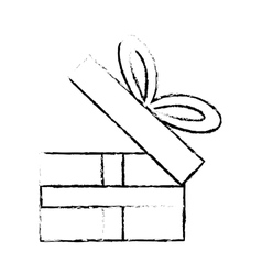 Open gift box ribbon festive party sketch vector