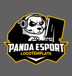 Panda esport gaming logo template vector
