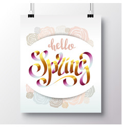 Poster with a handwritten phrase-hello spring 1 vector