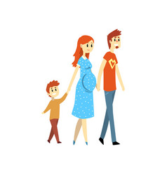 Pregnant family couple and their son cartoon vector