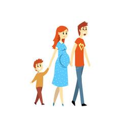 pregnant family couple and their son cartoon vector image
