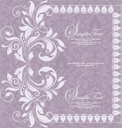 purple invitation card design vector image