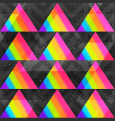 rainbow triangles seamless pattern vector image