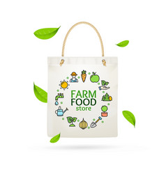 Realistic detailed 3d eco tote bag farm product vector