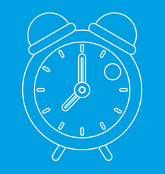 retro alarm clock icon outline style vector image