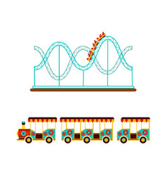 Rollercoaster and train ride in amusement park vector