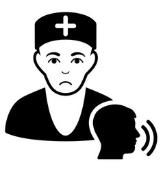Sad psychotherapist doctor visit black icon vector