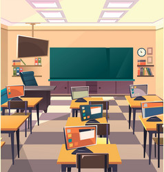 School classroom interior vector