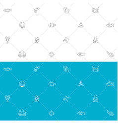 seafood seamless pattern blue white and gray vector image