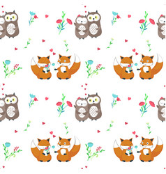 Seamless pattern with cute animals couples vector