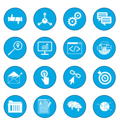 Seo web icon blue vector