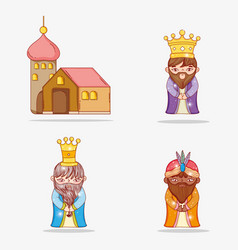 Set magicians kings wearing crown and house vector