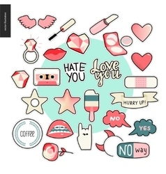 Set of contemporary girly patches elements vector image