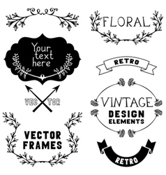 Set of vintage design elements and page vector