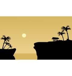 Silhouette of gazebo in cliff vector image