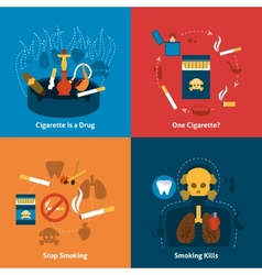 Smoking Flat Set vector image