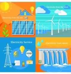 Solar and Hydro Electricity Windy vector image