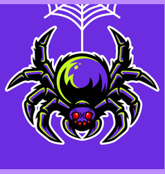 spider mascot hanging on spider web vector image