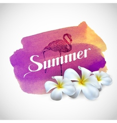 Summer label with exotic flowers and flamingo bird vector