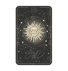 Sun tarot card icon with a face vector