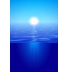 Sunshine over calm water in blue vector