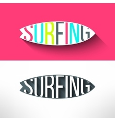 surf typography inside surging board T vector image