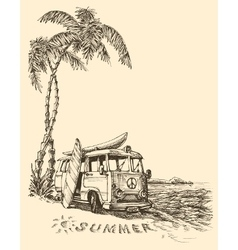 Surf van on the beach sketch vector