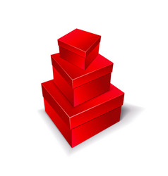 three boxes of red color stand on top of each vector image