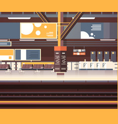 Train station interior background empty platform vector